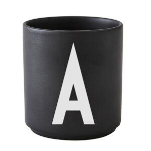 Design Letters Arne Jacobsen posliinikuppi, musta,  A-Z