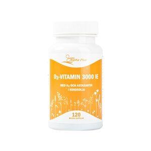 Alpha plus D3-vitamin 3000 IE med K2 och Astaxantin 120 kapselia