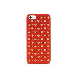 PURO iPhone 5 / 5S / SE Rock Round And Square Studs Kotelo - Punainen