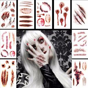 Zombie Arpi Vliaikainen Tatuointi Fake Arvet Verinen Puku Meikki Halloween Koriste Kauhu Haava Pelottava Tarra Vaaleanharmaa