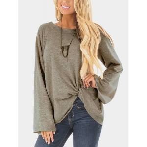 Yoins Grey Crossed Front Design Plain Round Neck Flared Sleeves T-shirt