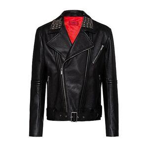 HUGO Slim-fit leather jacket with studded details  - Men - Black - Size: Large
