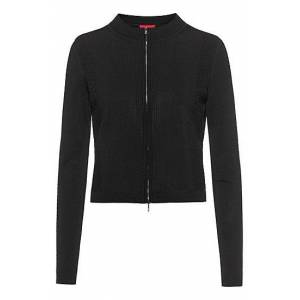 HUGO Zip-through jacket with knitted lace effects  - Women - Black - Size: Extra Small
