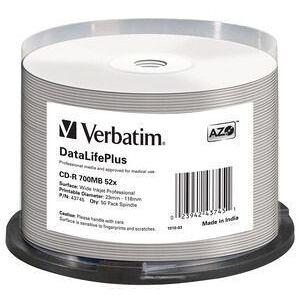 Verbatim 1x50 CD-R 80 / 700MB 52x white wide printable NON-ID