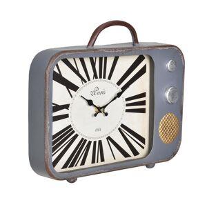 [en.casa]® Seinäkello vanha televisio - analoginen - 33x5x27 cm - monivärinen - lasia
