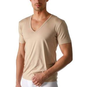 Mey Dry Cotton Functional V-Neck Shirt - Beige  - Size: 46038 - Color: Beige