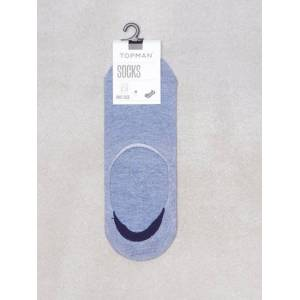 Topman Blue Marl No Show Socks with Gel Pads Sukat Blue