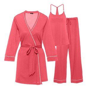 Cosabella Maternity Girls Sleepwear Multi Bella Maternity 3-Piece Pyjama Set Coral/Pink Cadillac