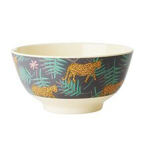 Rice Medium Melamine Bowl Leopard and Leaves Print Bowls