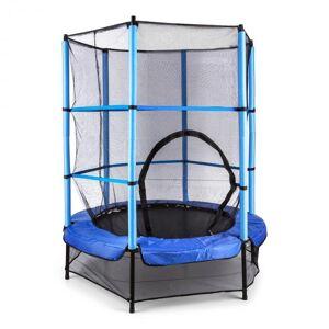 KLARFIT Rocketkid trampoliini 140 cm turvaverkko sisäpuolella, bungeejousitus, sininen