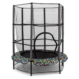 KLARFIT Rocketkid 5 trampoliini 140 cm turvaverkko benjiköysijousitus kukkakuvio