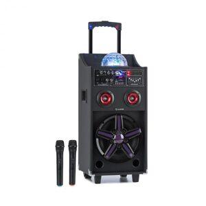 Auna DisGo Box 100 kuljetettava PA-järjestelmä 50 W RMS BT SD-korttipaikka LED-valot USB akku musta