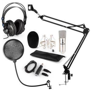 Auna CM001S mikrofonisetti V4 kuulokkeet kondensaattori USB-adapteri jalusta pop-suoja