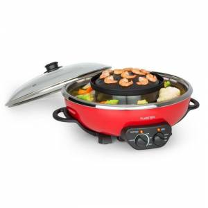 Klarstein Tafelrunde hot pot -pata ja grillilevy 5 l tilavuus 1350 W, 600 W punainen