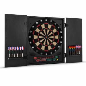 OneConcept Dartmaster 180 darts-taulu darts-automaatti softtip-tikat ovet musta