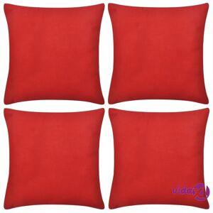 vidaXL Punainen Tyynynpäällinen Puuvilla 4kpl 40 x 40 cm