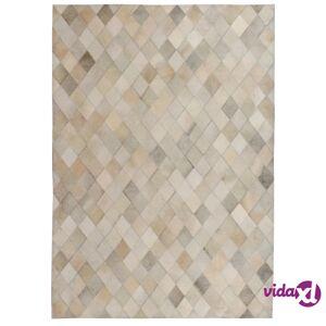 vidaXL Matto aito nahka tilkkutyö 160x230 cm timanttikuvio harmaa