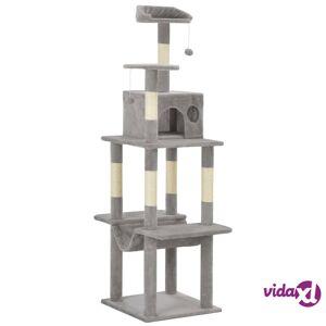 vidaXL Kissan kiipeilypuu sisal-pylväillä 165 cm harmaa
