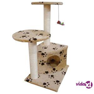 vidaXL Kissan raapimispuu Beige Tassu-kuviolla