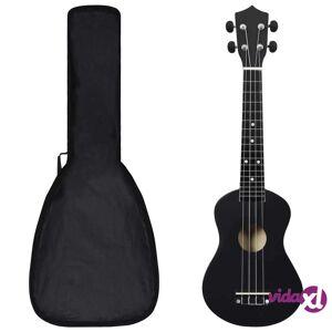 vidaXL Sopraano ukulelesarja laukulla lapsille musta 23
