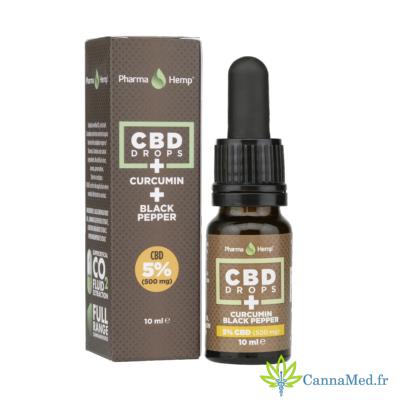 PharmaHemp Huile CBD/CBDa 5% (Cannabidiol) + Curcuma + Poivre Noir