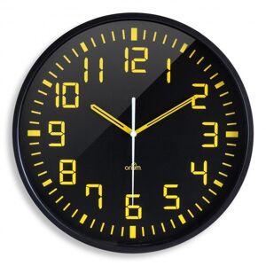 AIC Horlogue analogique cadran noir et chiffres jaunes, dia 30cm - Publicité