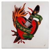 Arte dal mondo Tableau Tatouage Amour rouge - 80x80 cm