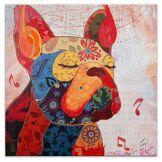 Arte dal mondo Tableau bouledogue francaise pop art multicolore - 80x80x3.5 cm