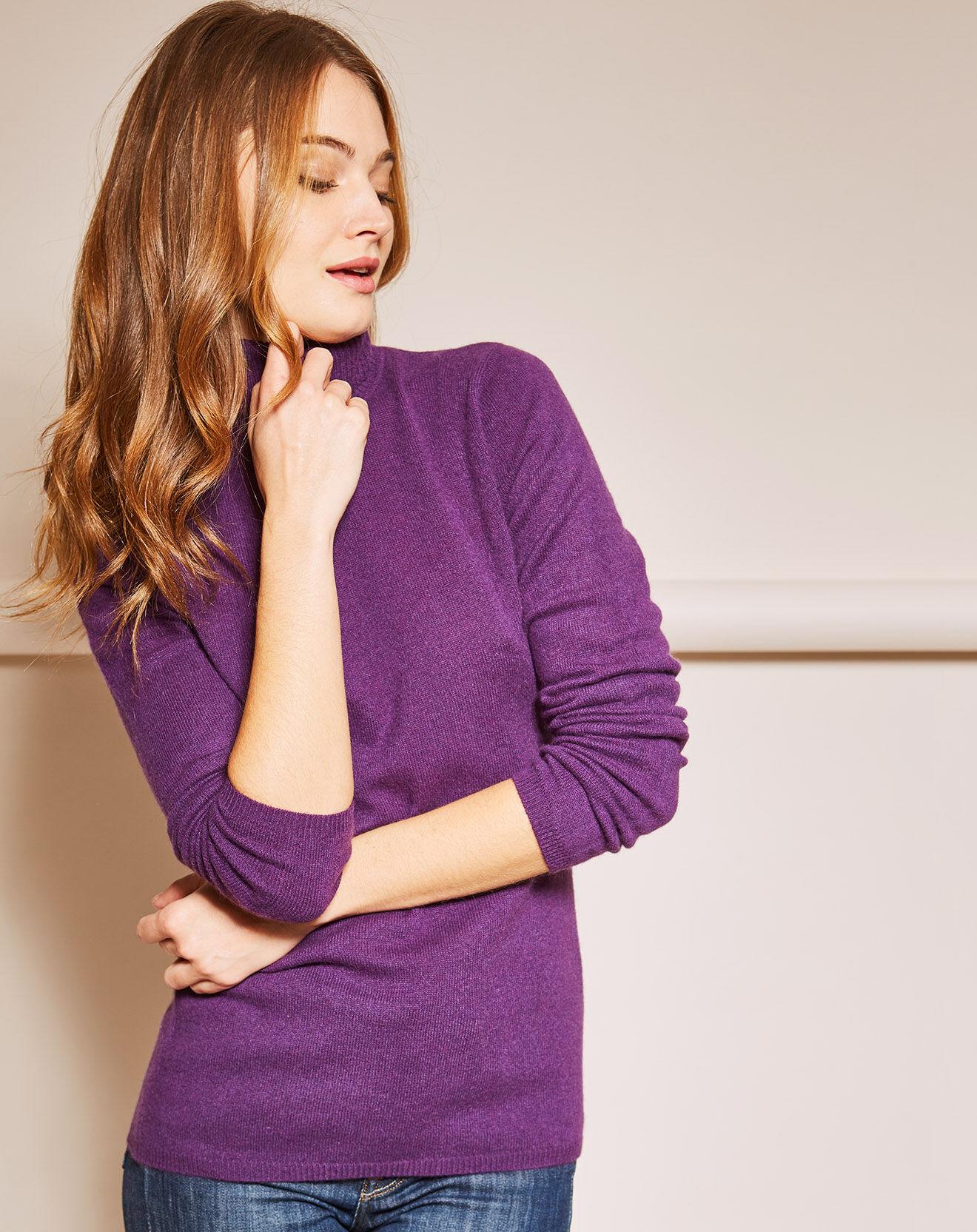 Miss Cashmere Pull 100% Cachemire col roulé violet