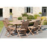 Dpi Ensemble 1 table ovale + 8 chaises Lombock teck - 200/300x120x75 cm