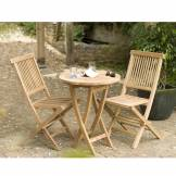 Dpi Ensemble 1 table ronde pliante + 2 chaises Java teck - D.60xH.77 cm
