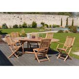 Dpi Ensemble 1 table ovale + 4 chaises + 2 fauteuils Lombock teck - 180/240x100x75 cm