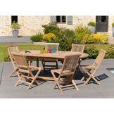 Dpi Ensemble 1 table ovale extensible + 6 chaises Java teck - 150/200x90 cm