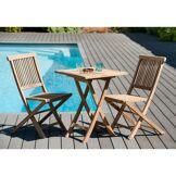 Dpi Ensemble 1 table carrée pliante + 2 chaises Java teck - 60x60x76 cm