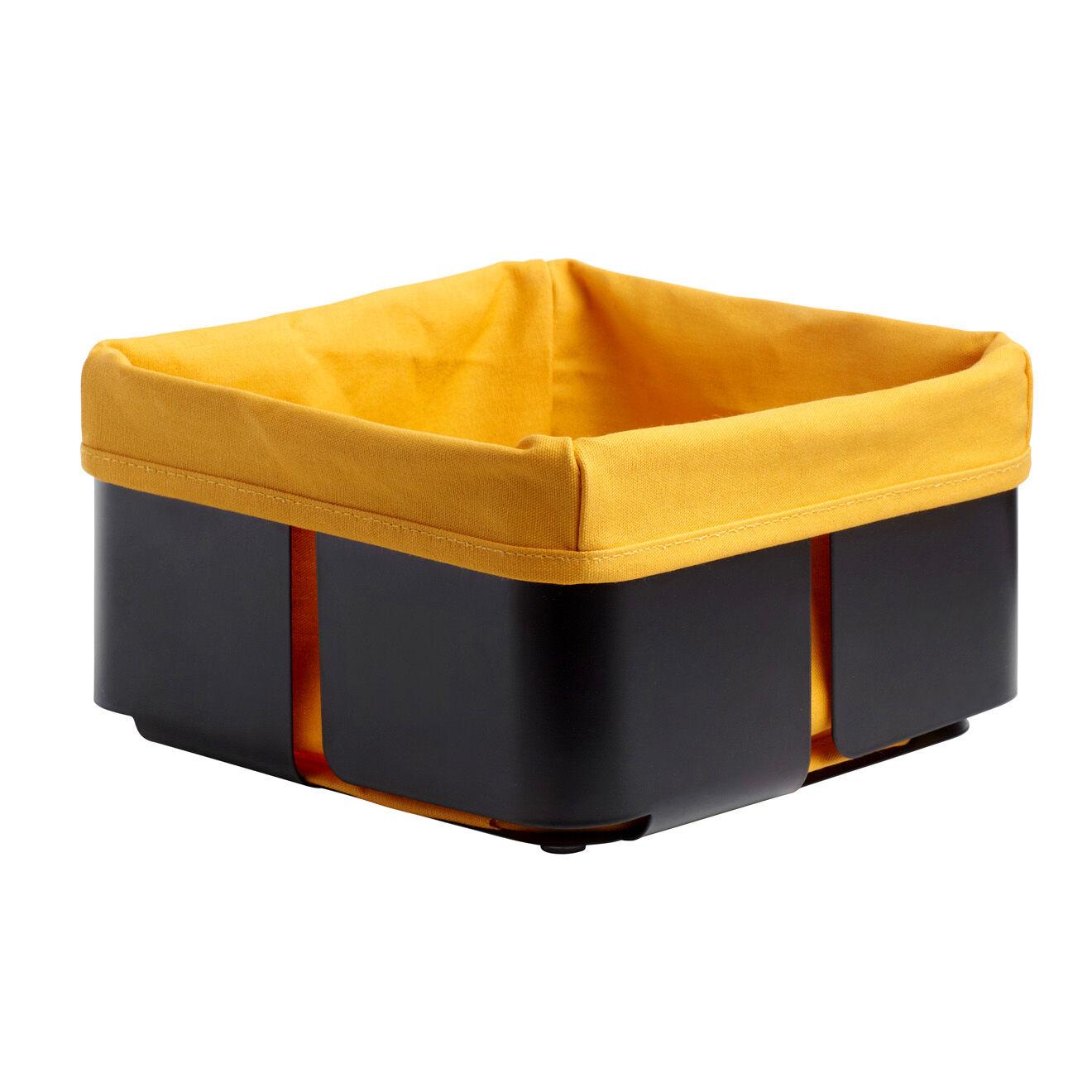 Steel Function Corbeille à pain métal & tissu noir/orange - 20x20x11 cm