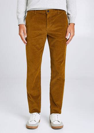 Jules Chino coupe slim en velours Jaune Moutarde taille: 36