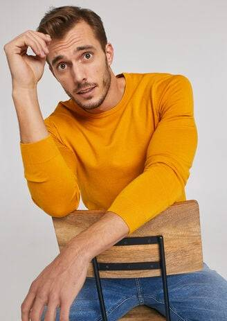 Jules Pull fin col rond uni Jaune D'Or taille: L