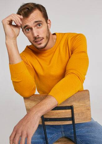 Jules Pull fin col rond uni Jaune D'Or taille: S