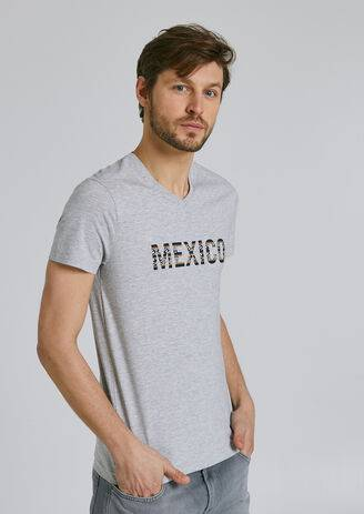 Jules Tee-shirt manches courtes col V message MEXICO Gris Chiné taille: S