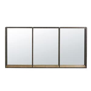 Maisons du Monde Miroir étagère triptyque en métal noir 120x60 - Publicité