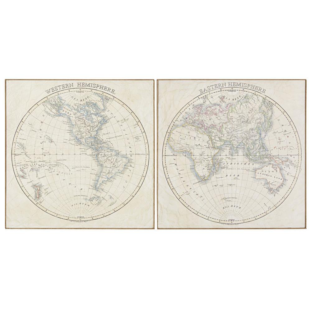 Maisons du Monde 2 toiles imprimé carte du monde et bambou 162x81