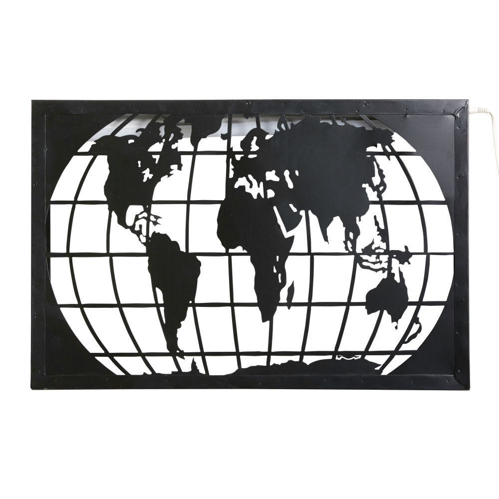 Maisons du Monde Applique carte du monde en métal noir découpé