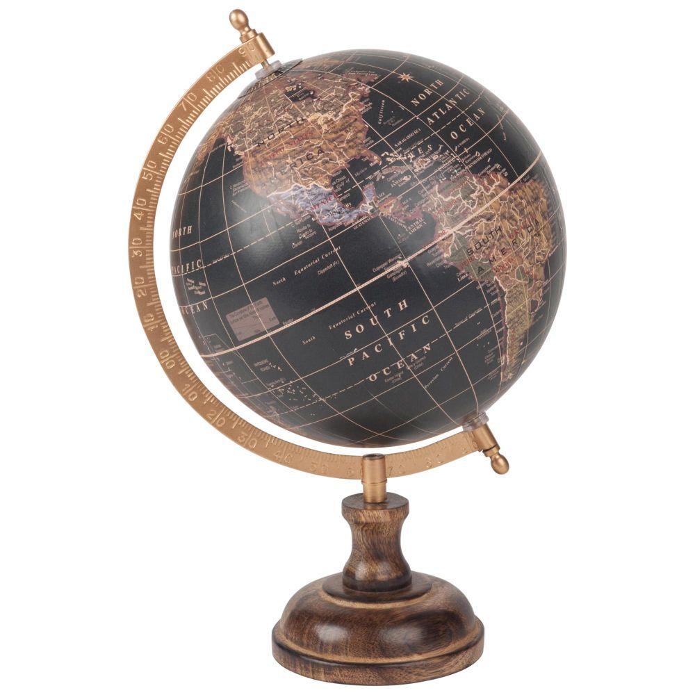 Maisons du Monde Globe terrestre carte du monde en manguier noir
