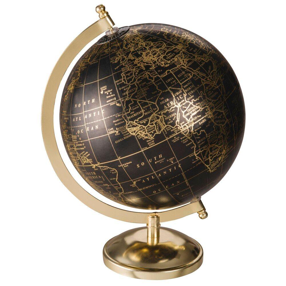 Maisons du Monde Globe terrestre carte du monde noir et doré