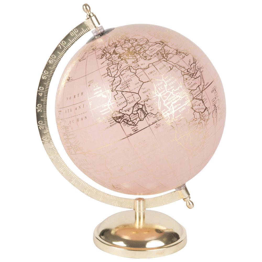 Maisons du Monde Globe terrestre carte du monde rose et doré