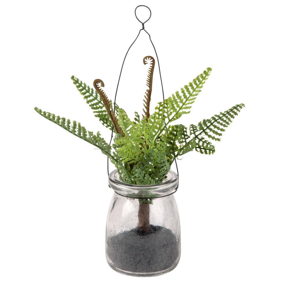 Maisons du Monde Plante artificielle Fougère et bocal en verre à suspendre