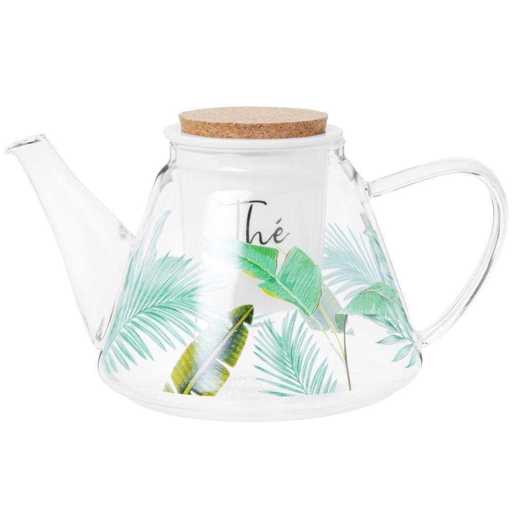 Maisons du Monde Théière en verre transparent motif végétal vert et porcelaine 1.2L