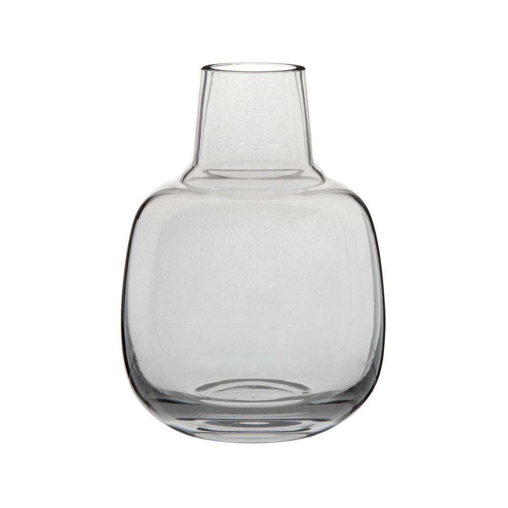 Maisons du Monde Vase bouteille en verre teinté bleu H31