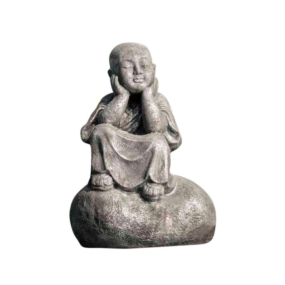Wanda Collection Statue moine Shaolin pensif gris H80cm