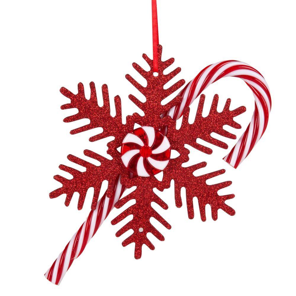 Maisons du Monde Suspension de Noël flocon et sucre d'orge rouges